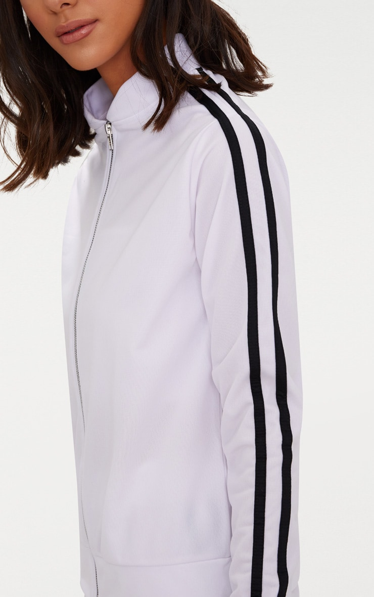 White Sport Stripe Tracksuit Top  5
