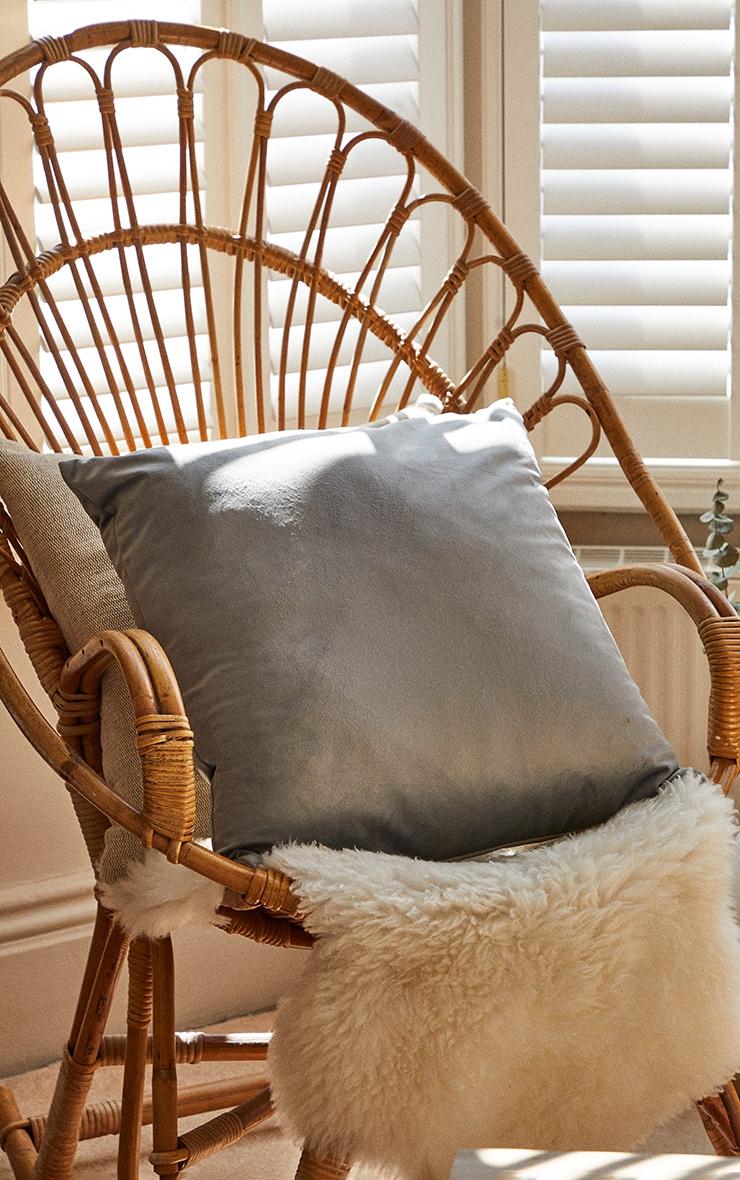 Grey Large Velvet Filled Cushion 1