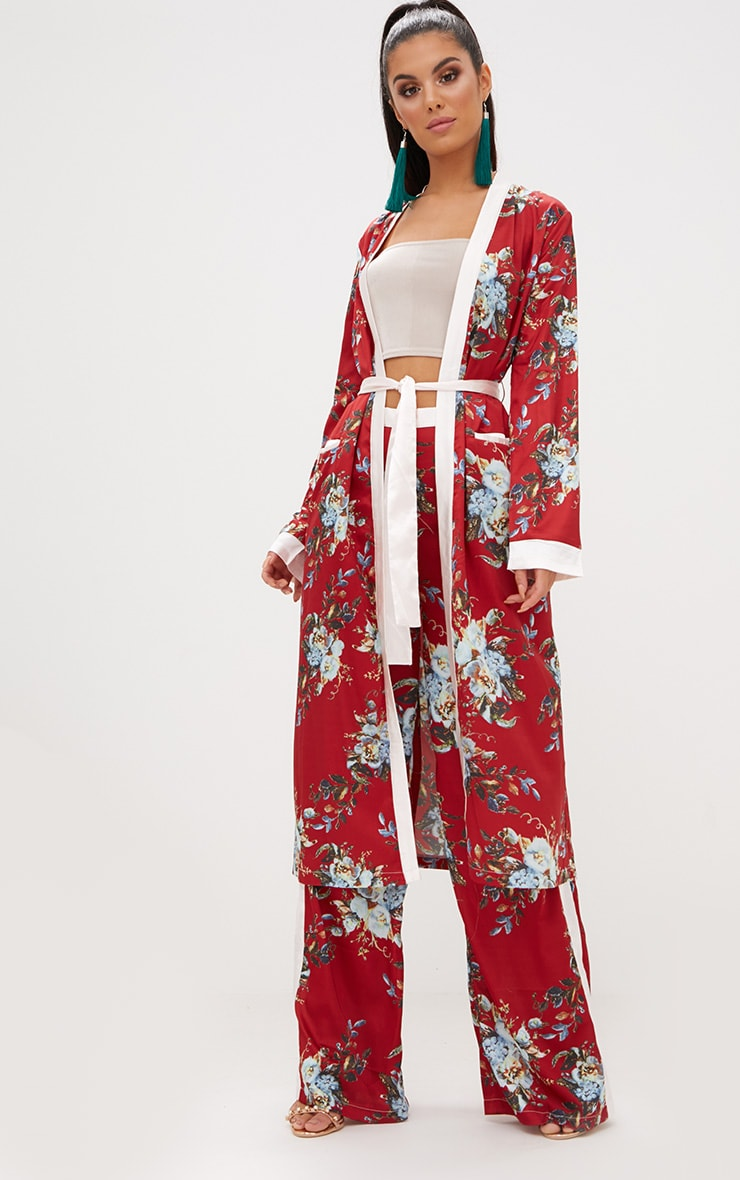 Red Floral Satin Duster Jacket  2