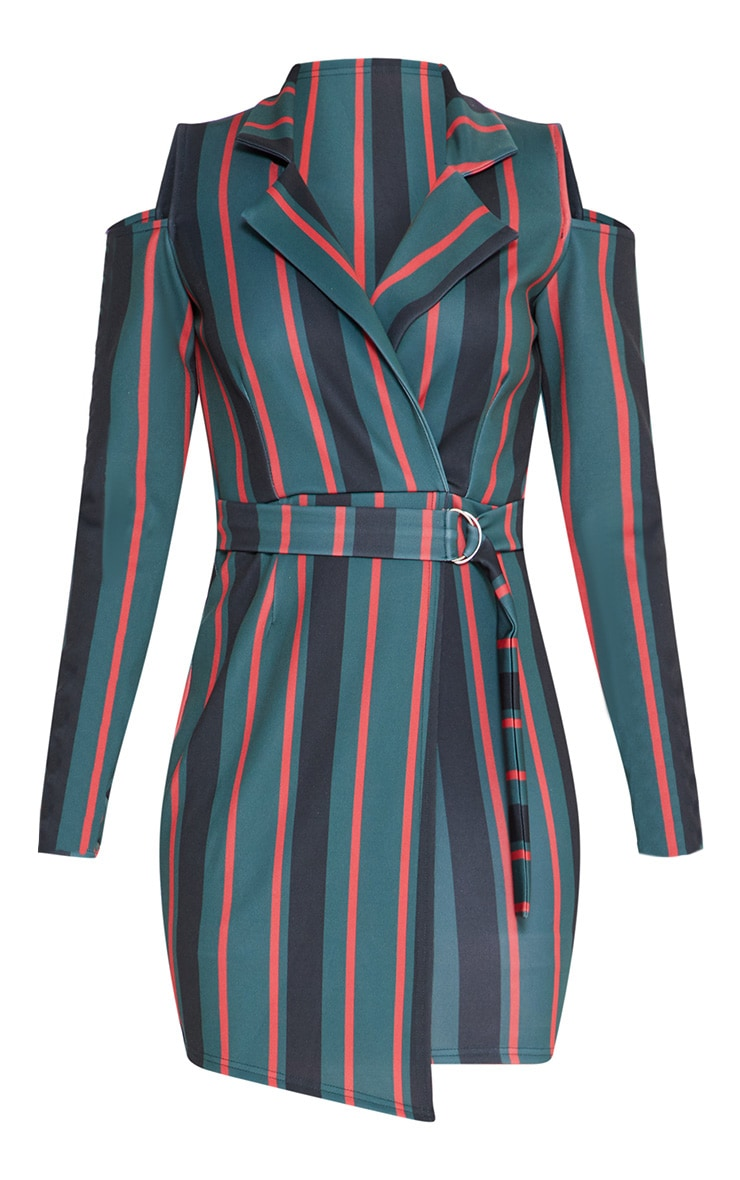 Emerald Green Cold Shoulder Long Sleeve Belt Detail Blazer Dress 3