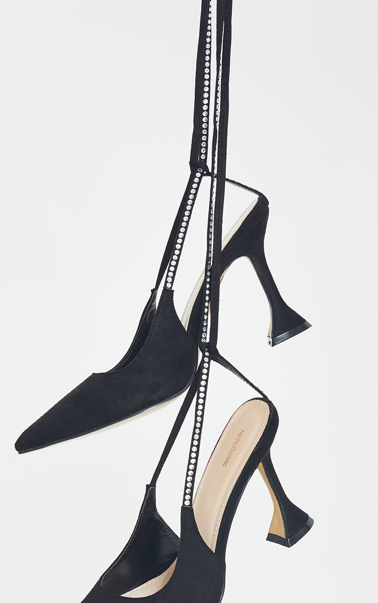 Black Suede Pointed Toe Diamante Lace Up High Heels 3