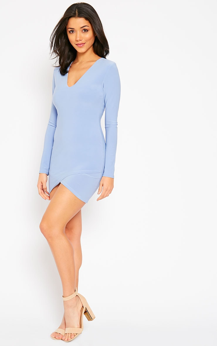 Tamika Powder Blue Slinky Plunge Mini Dress 3