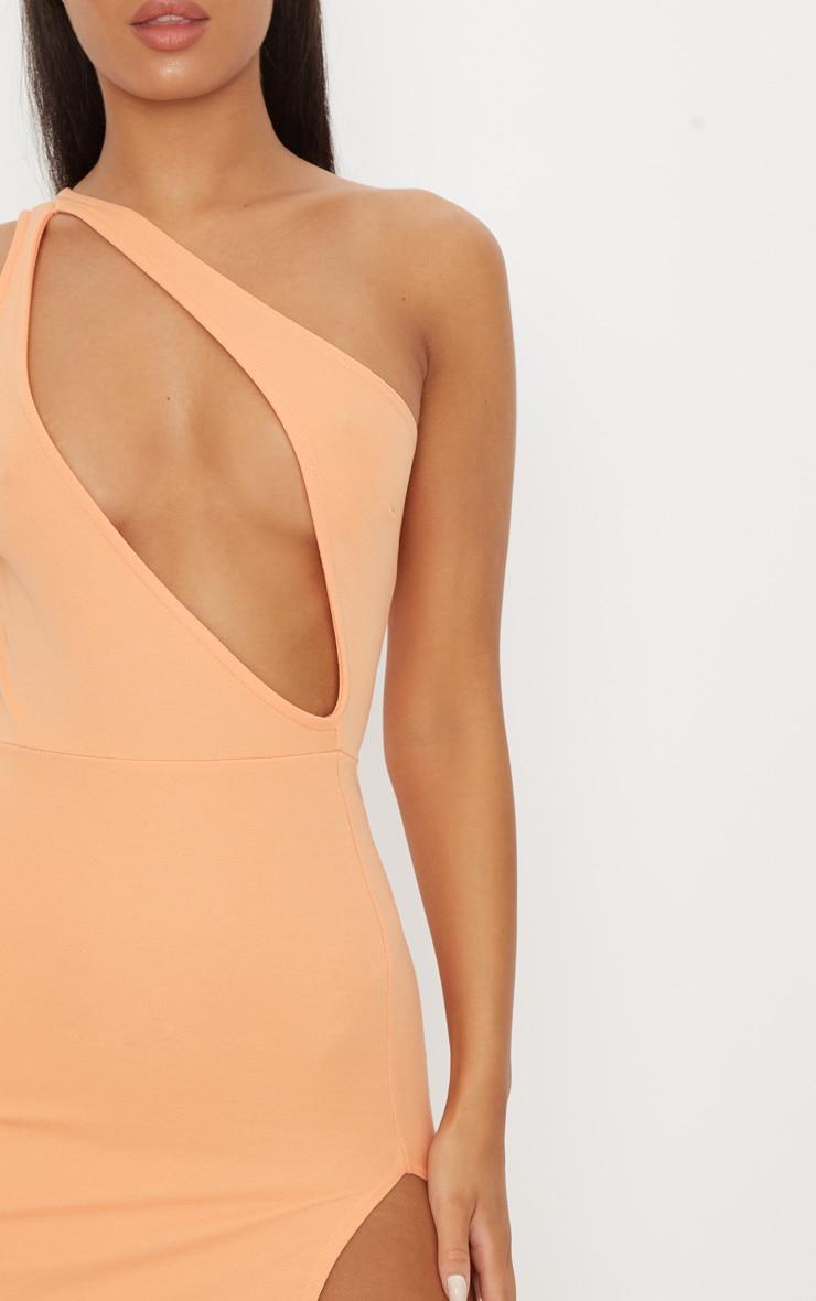 Tangerine One Shoulder Extreme Split Detail Bodycon Dress 5