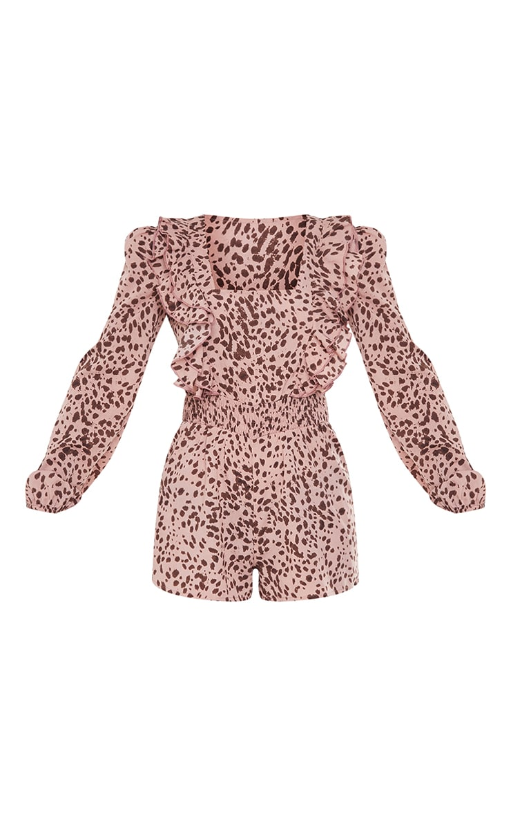 Dusty Pink Dalmatian Print Square Neck Frill Playsuit 5
