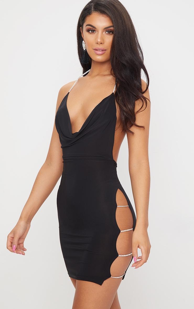 Black Diamante Detail Extreme Split Cowl Neck Bodycon Dress