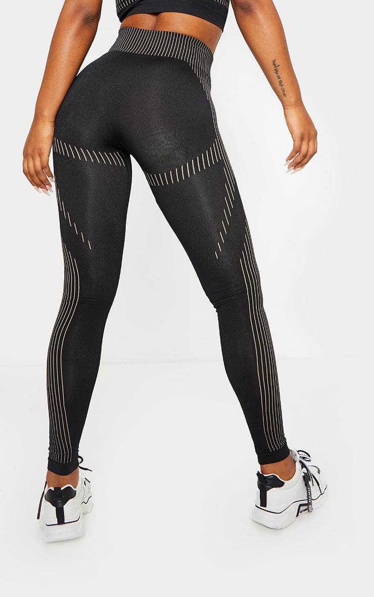 PRETTYLITTLETHING Black Contrast Stripe Seamless Gym Leggings 3