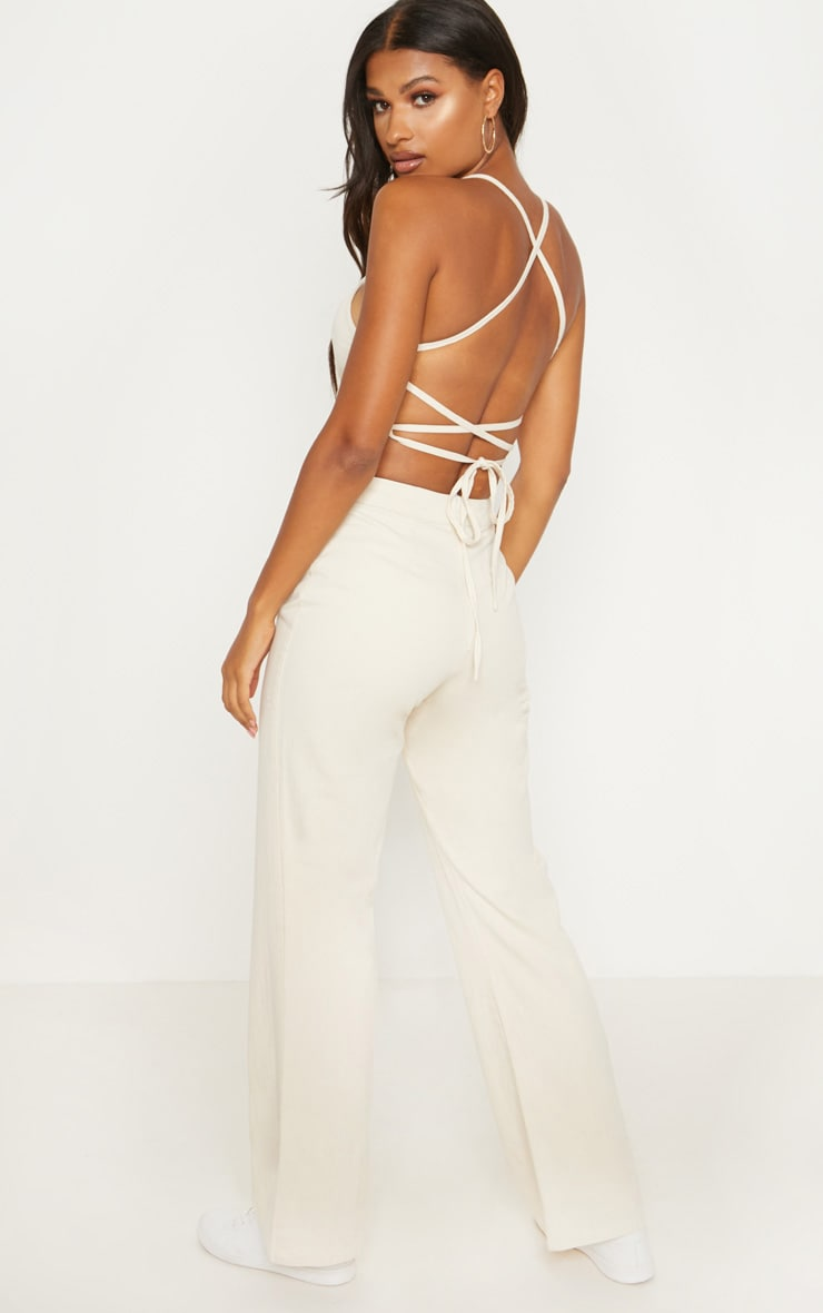 Ecru Wide Leg Denim Bandeau Jumpsuit