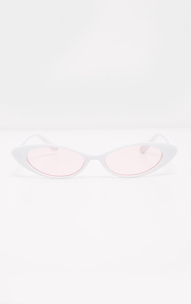 White Frame Pink Lens Slim Cat Eye Sunglasses 2