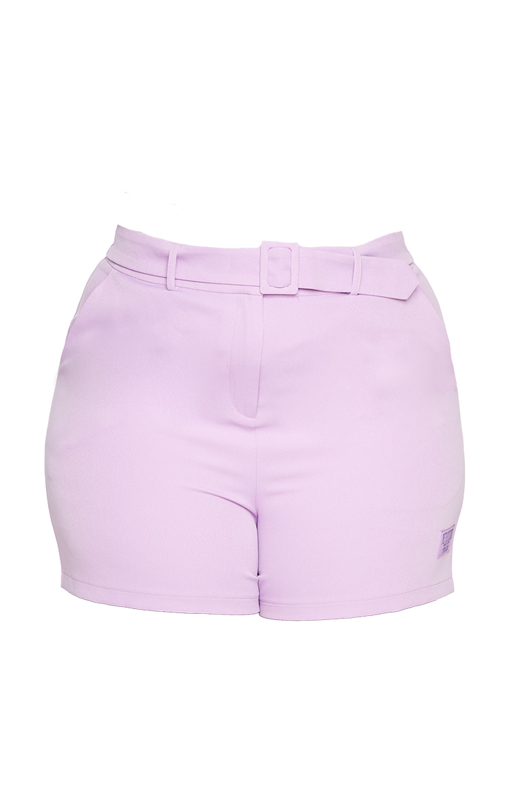PRETTYLITTLETHING Plus Lilac Self Belt Tailored Shorts 6