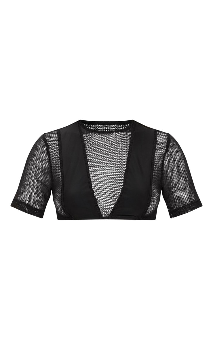 Black Minimal Cover Mesh Short Sleeve Bikini Top 3
