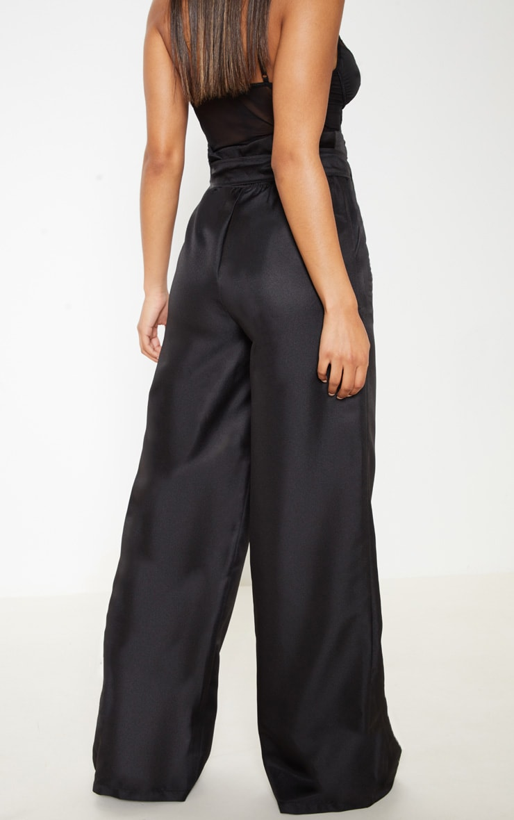 Black Tie Waist Paperbag Wide Leg Trouser 4