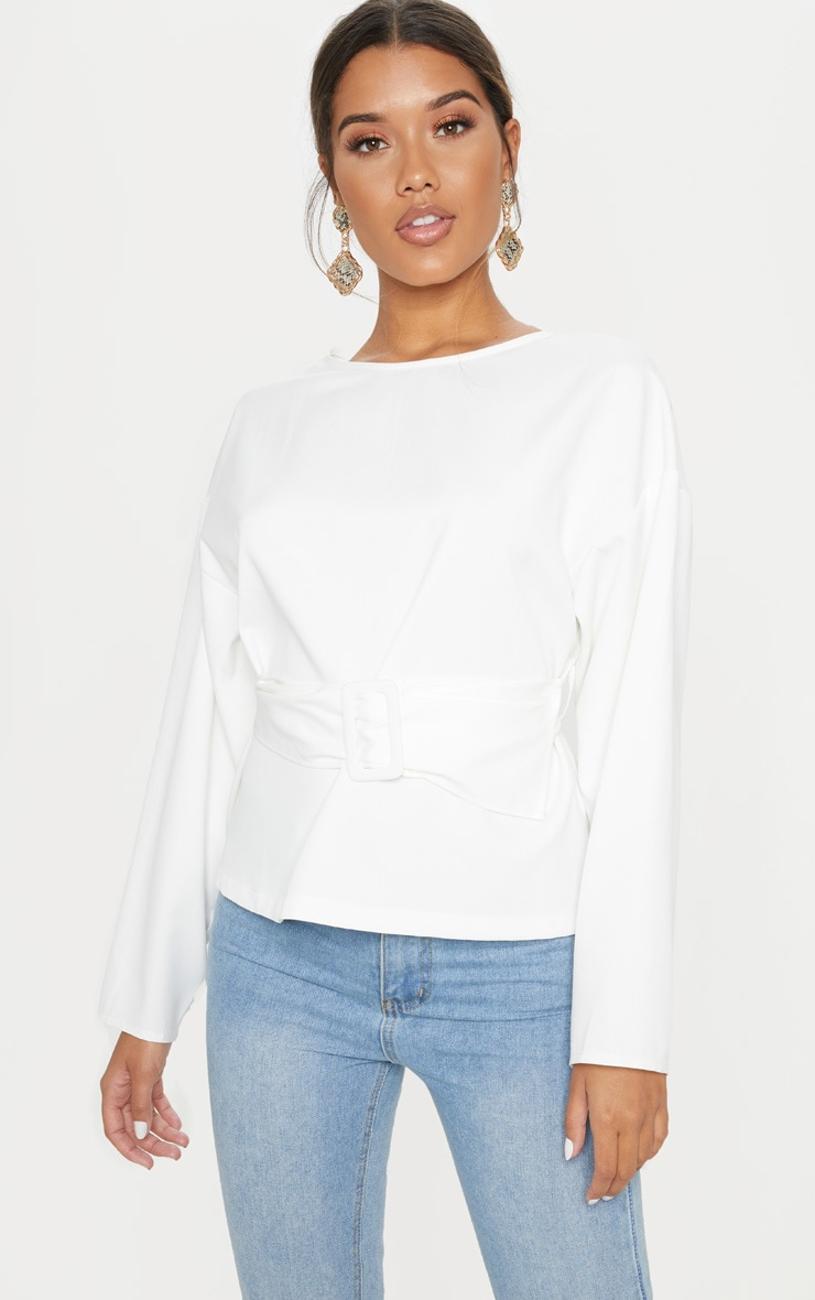 White Belt Detail Oversized Top 1