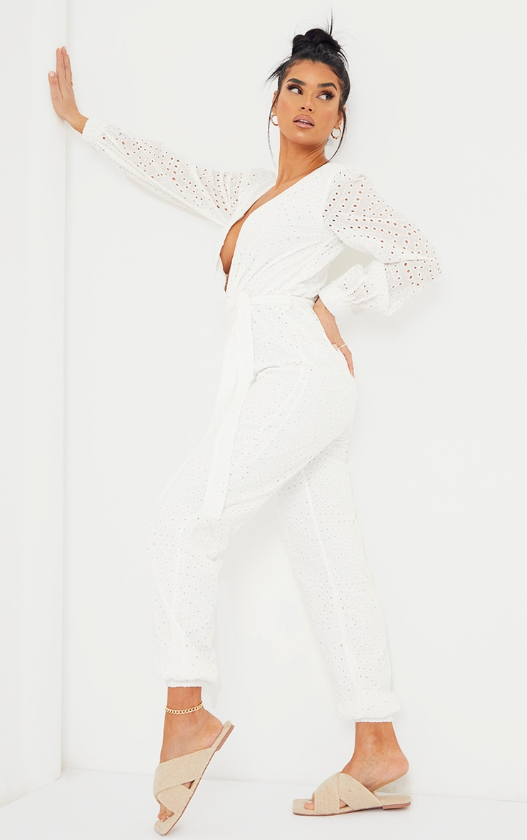 White Broderie Anglaise Wrap Tie Waist Jumpsuit 3