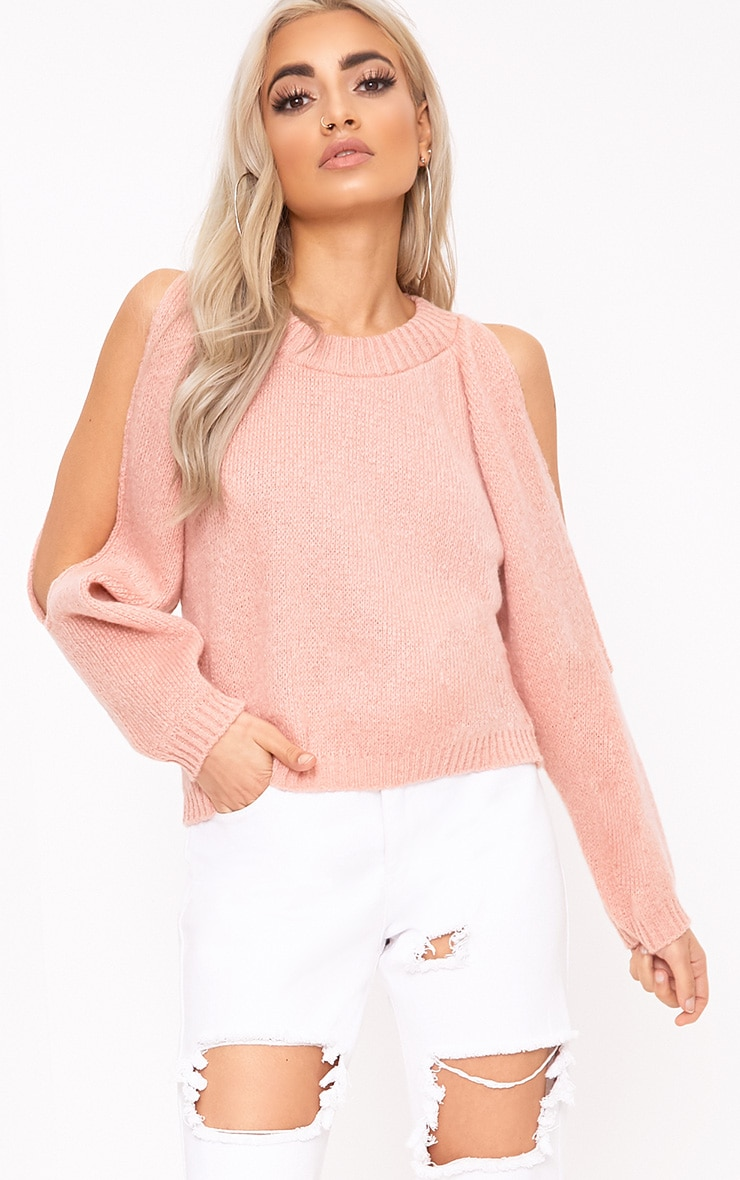 Aingeal Blush Cropped Cold Shoulder Knitted Jumper 1