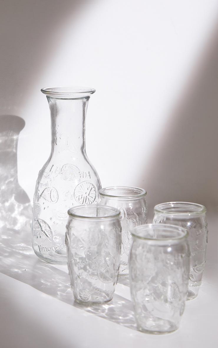 Clear Embossed Carafe & Glasses Set 5