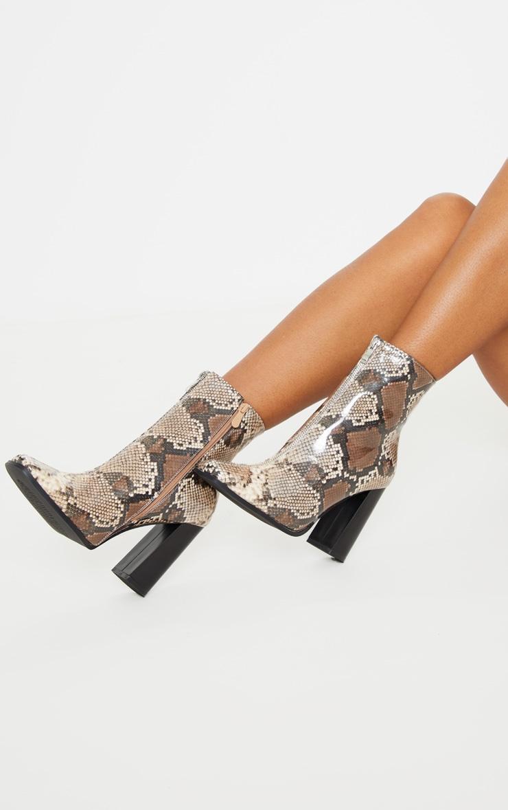 Brown Snake Zip Front Block Heel Ankle Boot 1