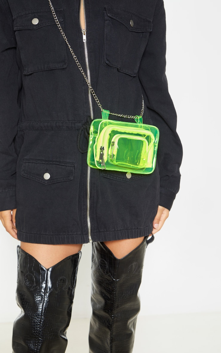 Neon Lime Plastic Multi Pocket Bum Bag 2