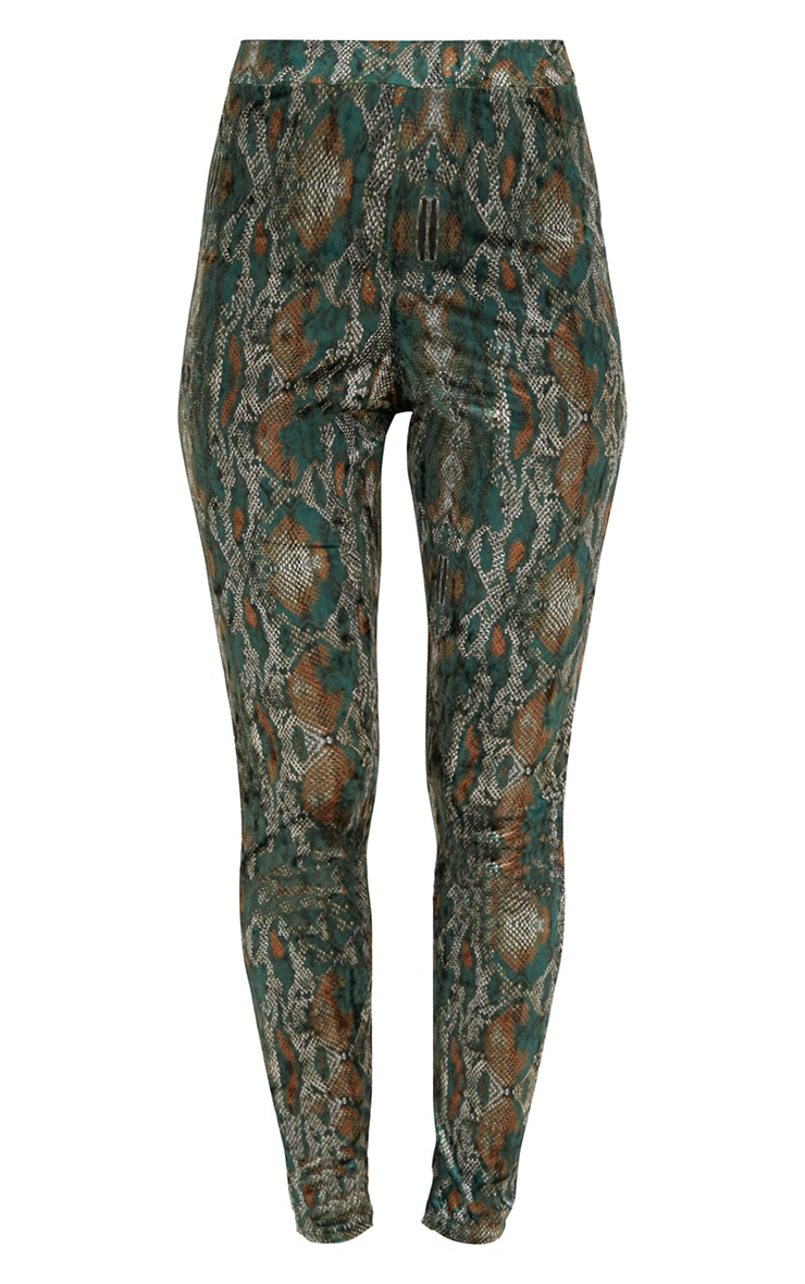 Green Velvet Snake Print Skinny Trousers 3