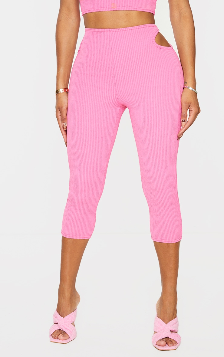Shape Pink Textured Rib Cut Out Side Cropped Leggings 2