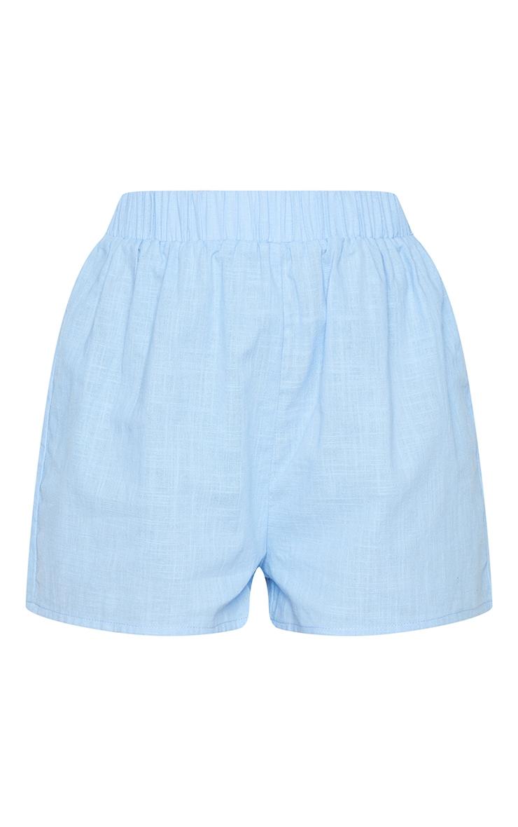 Blue Linen Look Elasticated Beach Shorts 6