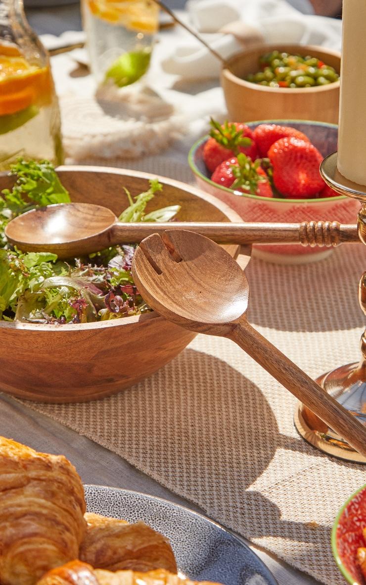 Brown Wooden Serving Spoons 3
