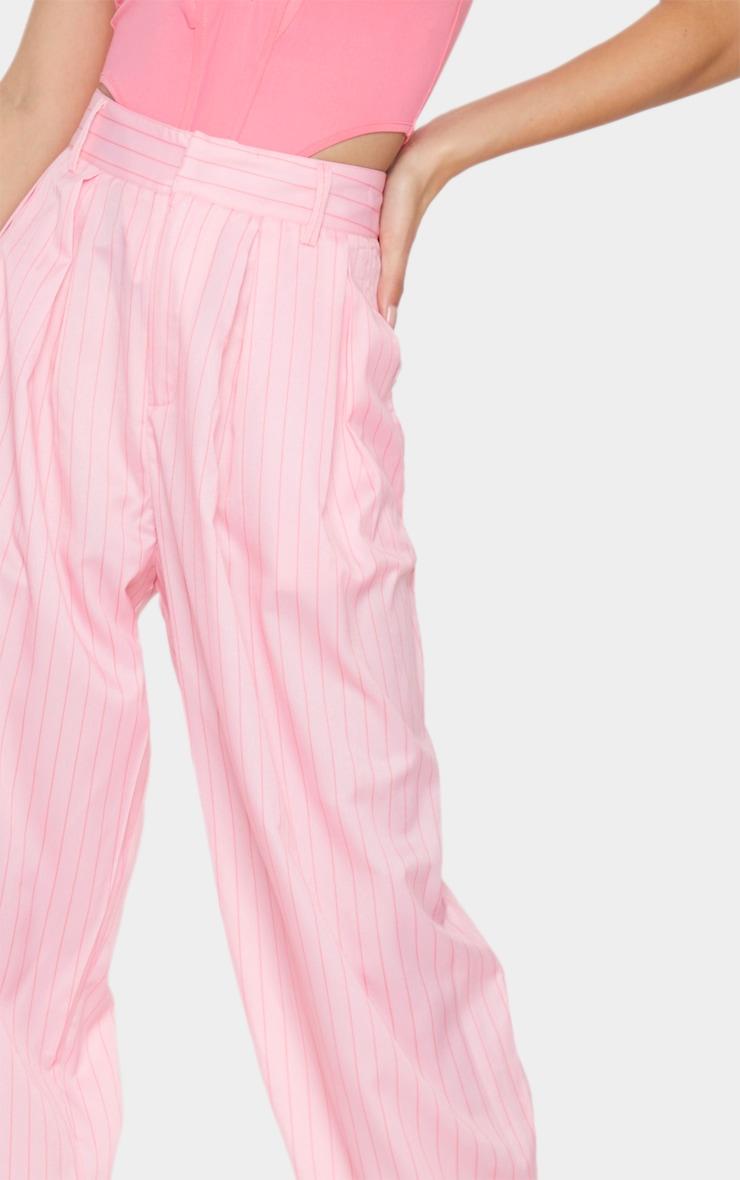 Pink Pinstripe Woven High Waisted Balloon Leg Trousers 4