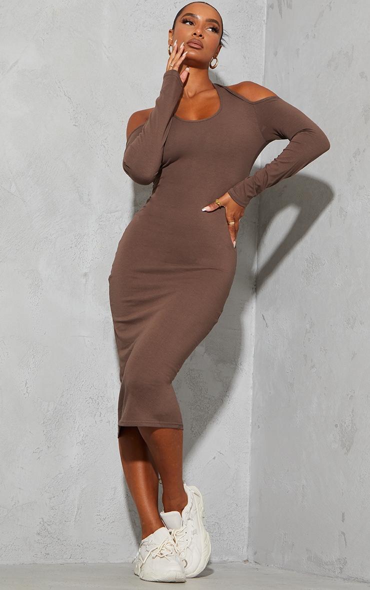 Chocolate Cotton Halterneck Cold Shoulder Long Sleeve Midaxi Dress 1