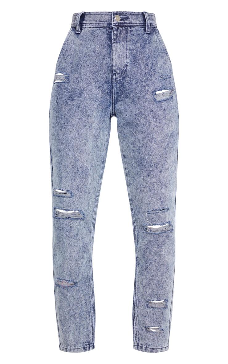 Indigo Vintage Wash Distressed Denim Jeans 3