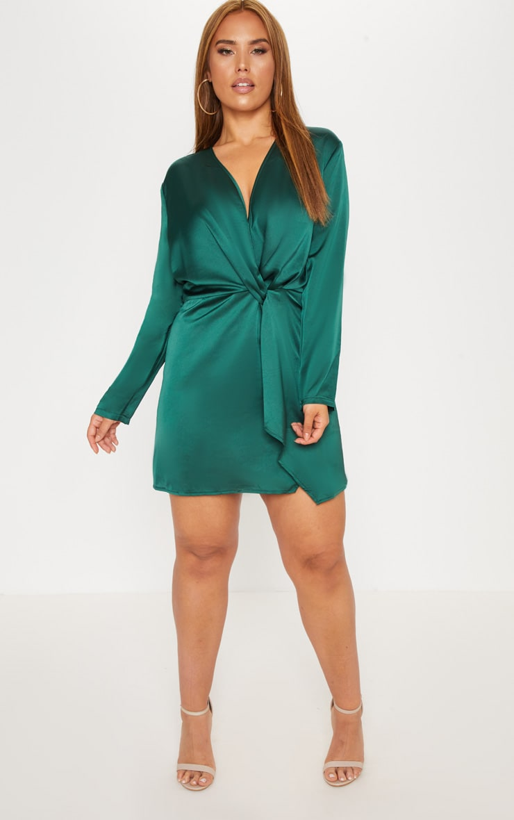 Plus Emerald Green Satin Long Sleeve Wrap Dress 3
