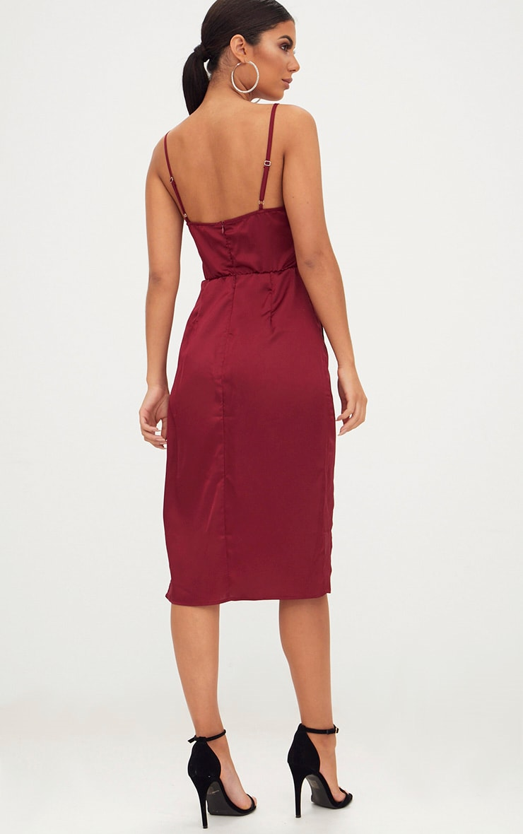 Burgundy Satin Strappy Twist Front Midi Dress 3