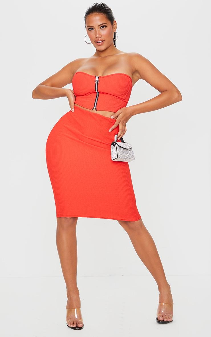Shape Red Crinkle Rib High Waist Midi Skirt 1
