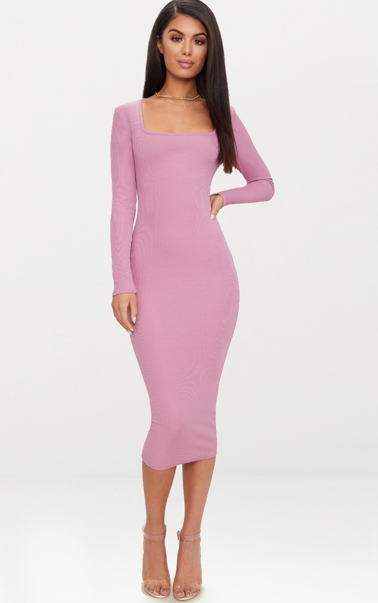 Dark Mauve Ribbed Long Sleeve Midaxi Dress