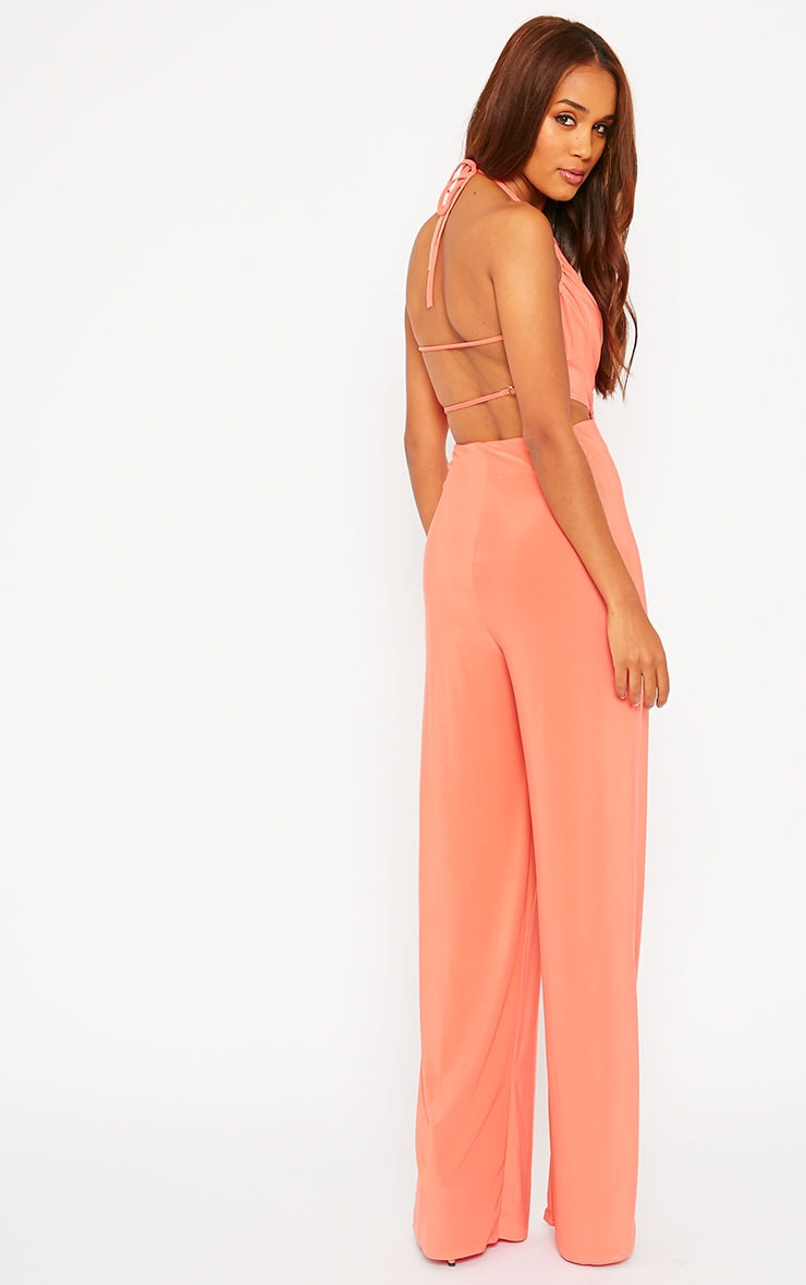 Tullia Orange Slinky Cross Front Wide Leg Jumpsuit 4