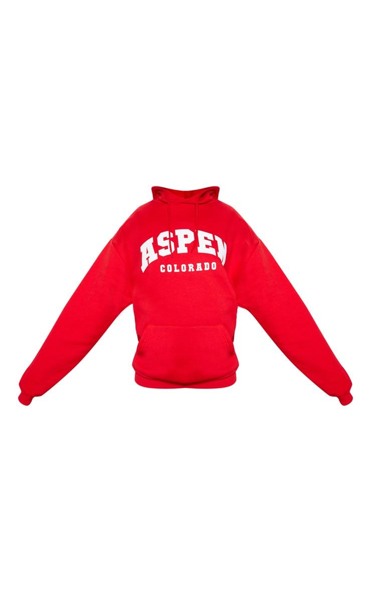 Red Aspen Slogan Print Hoodie 3