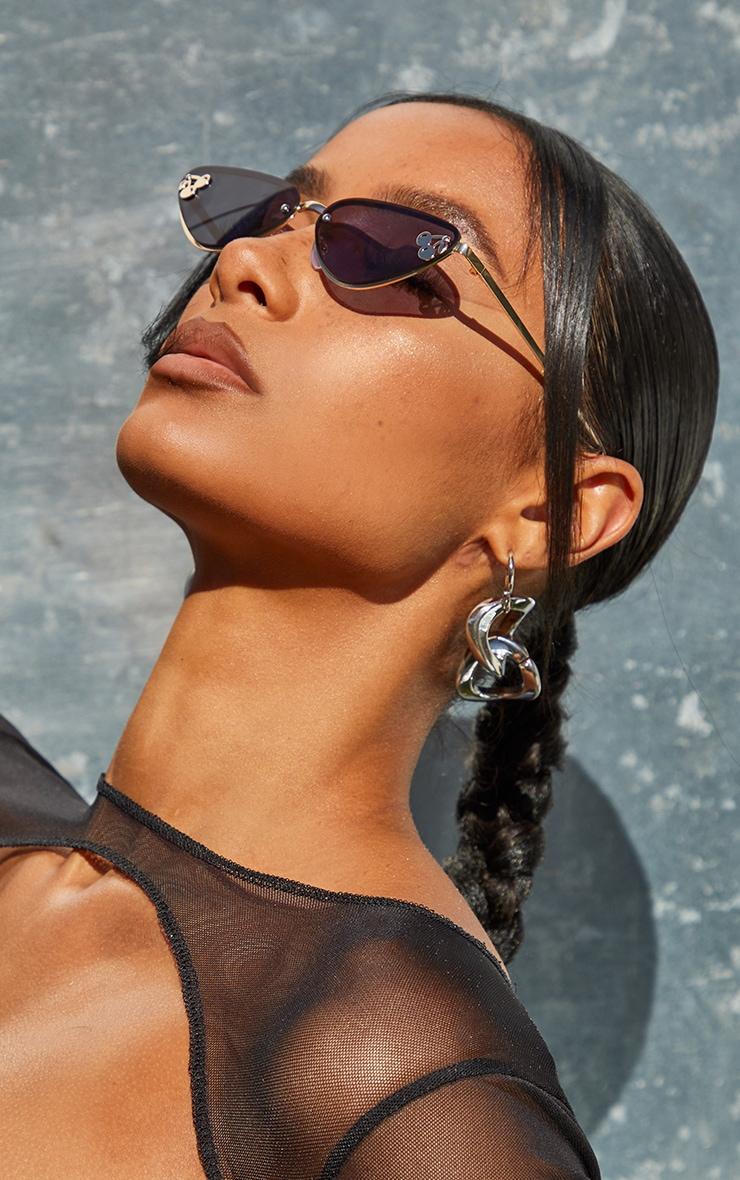 Black Cherry Motif Detail Triangular Sunglasses 2