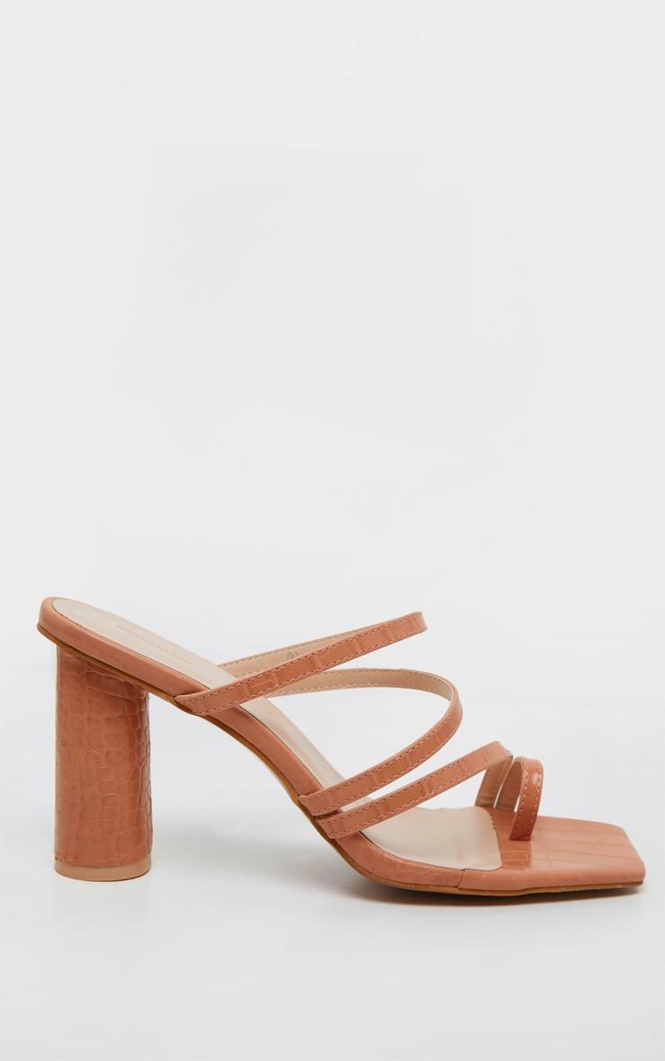 Nude Round Block Heel Mule Strappy Sandal 4