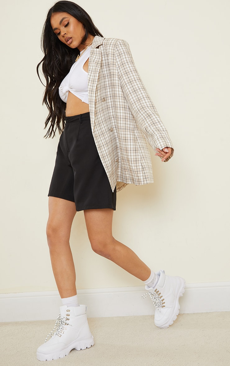 Stone Checked Woven Triple Breasted Oversized Blazer 3