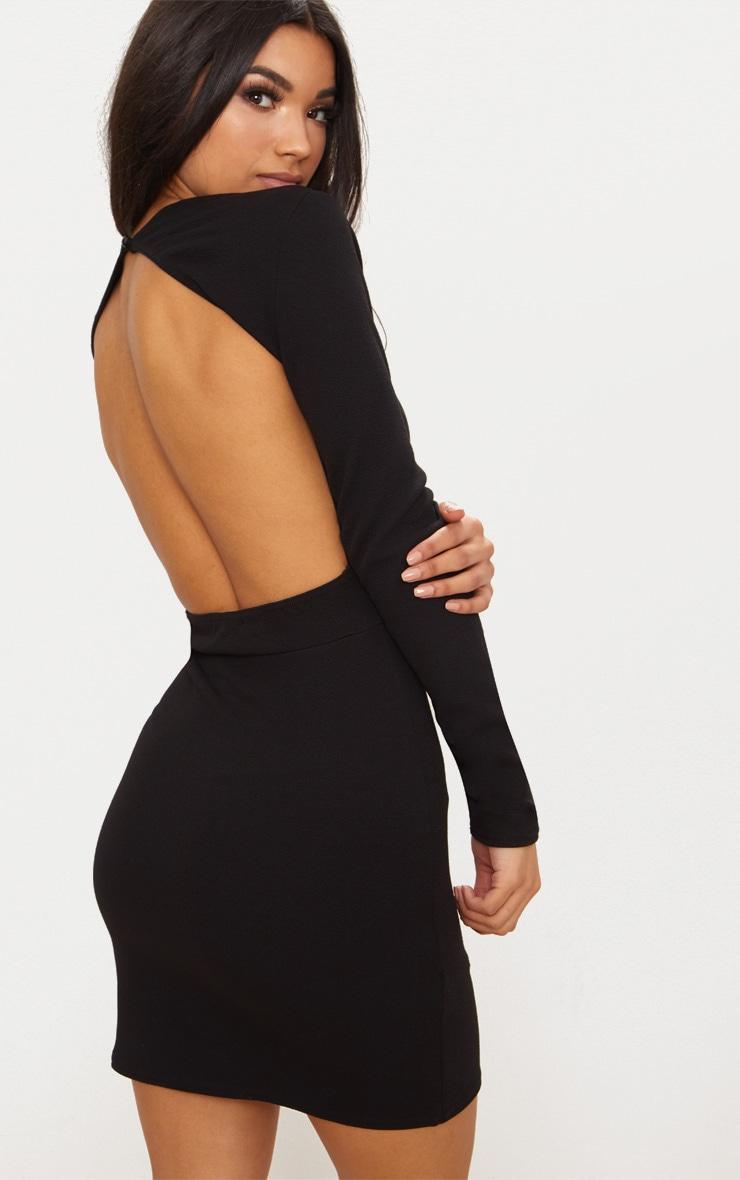 Black Plunge Cut Out Back Wrap Skirt Bodycon Dress 2