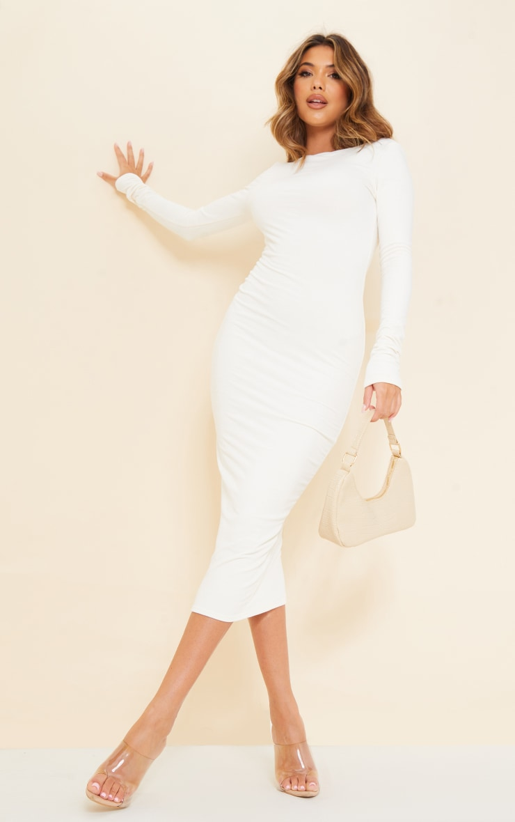 Recycled Cream Contour Jersey Long Sleeve Thumb Hole Scoop Back Midaxi Dress 2