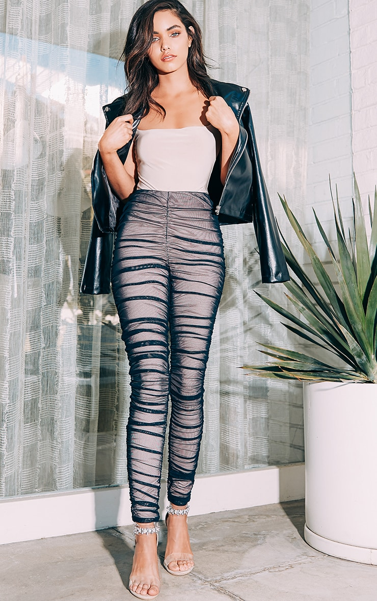 Piera Black Ruched Mesh Pants 1