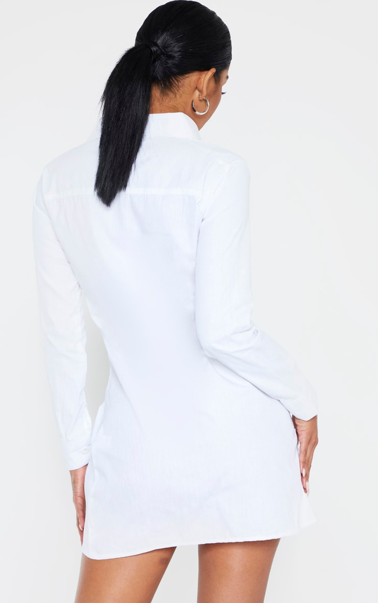White Ruched Front Shirt Dress 2