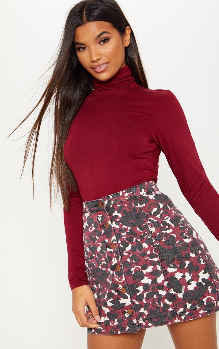Burgundy Blurred Leopard Button Through Denim Skirt 1