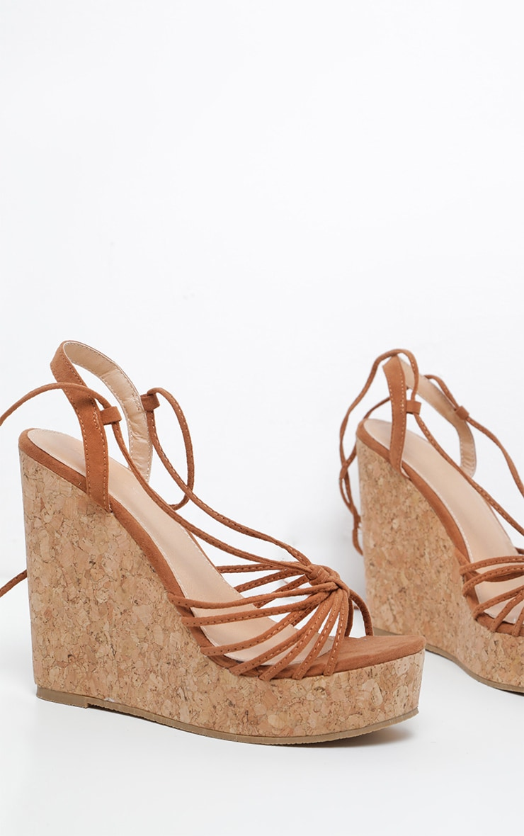 Tan Strappy Lace Up Cork Wedge 3