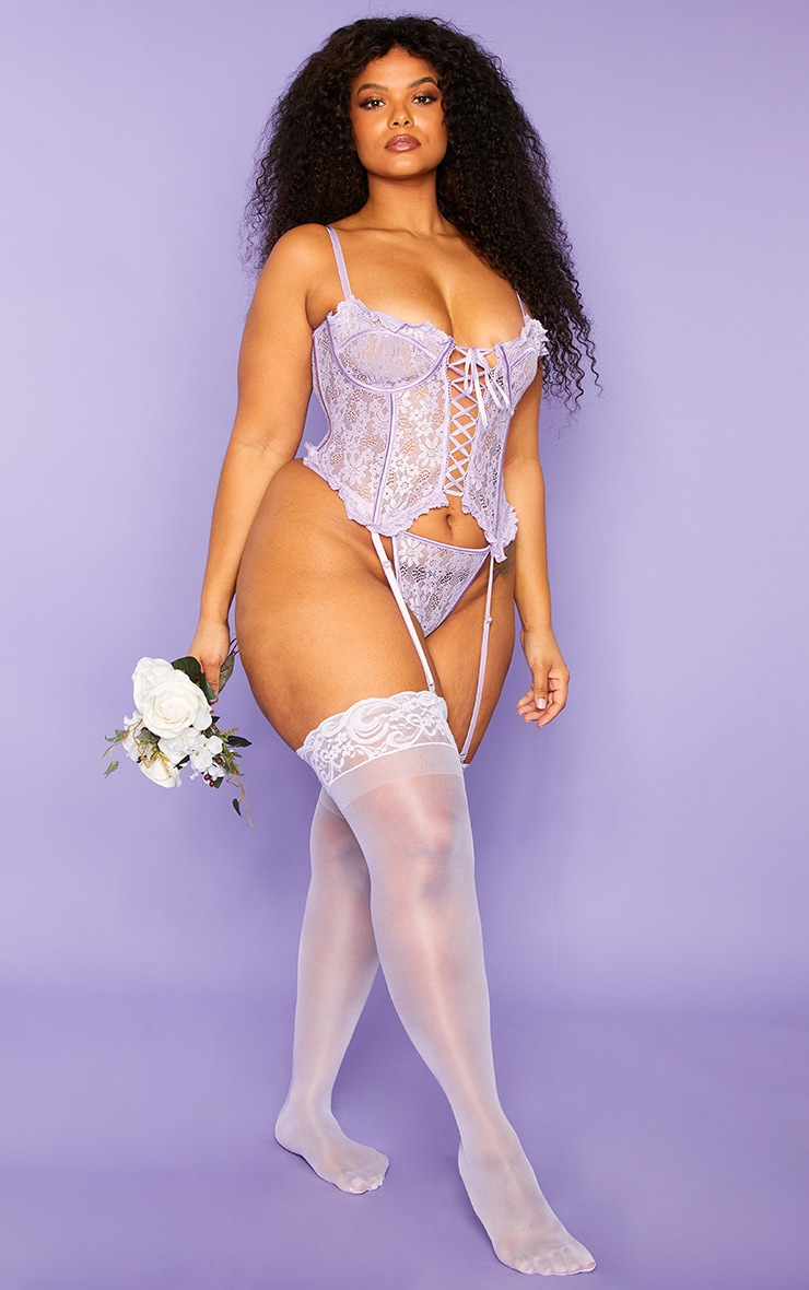 Plus Lilac Floral Lace Up Corset With Suspender And Thong 3