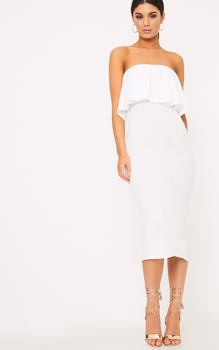 White Frill Bandeau Midi Dress 4