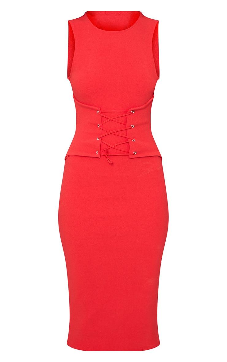 Red Corset Detail Midi Dress 3