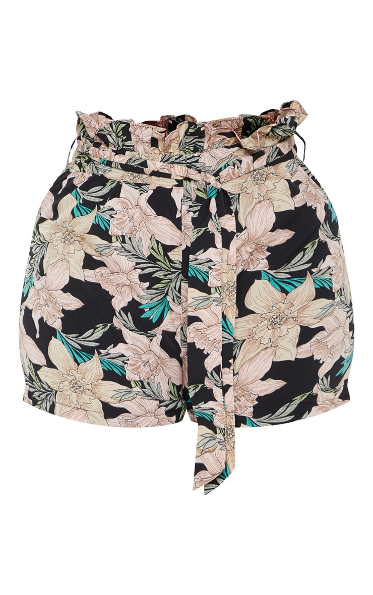 Plus Black Floral Paperbag Belted Shorts  3