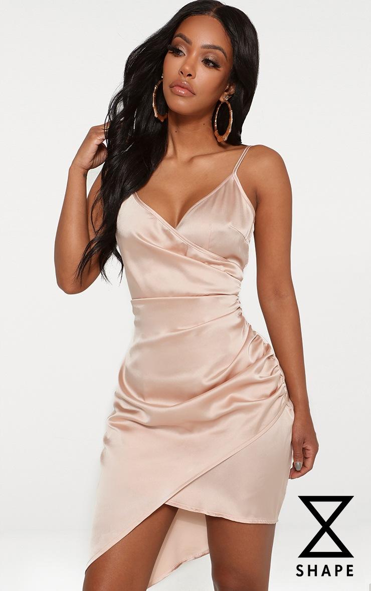 Shape Champagne Satin Wrap Dress 1