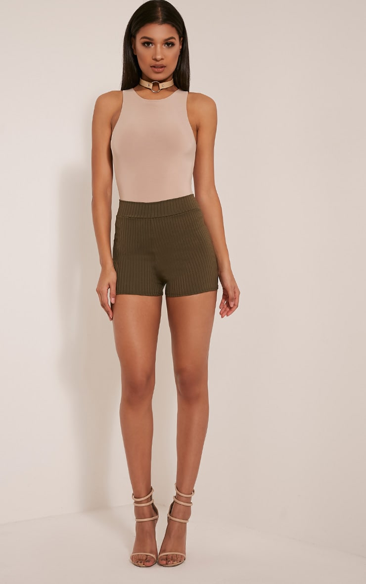 Janice Khaki Ribbed Shorts 6