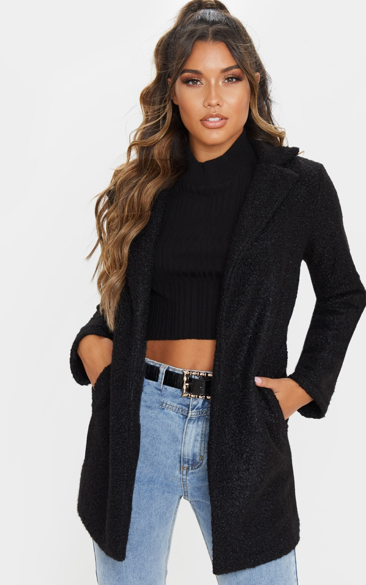 Black Textured Longline Coat 4